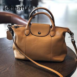 Johnature Fashion Luxury Handbags Donne Borse 2020 Nuovo Genuine Pelle Grande Capacità Soft Bovina Bowhide Borse a tracolla C0121
