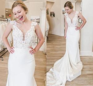 Sexy Simple Satin Mermaid Wedding Dresses Plus Size V Neck Cap Sleeve Bridal Gowns Sweep Train Lace Appliqued Vestidos De Novia