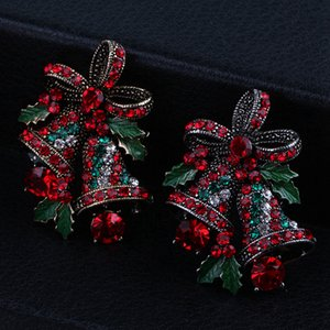 Lovely Two Bow Bells Brooches For Women Christmas Brooches Suit Pins Vintage Creative Gift Jewelry Coat Dress Accessories RRA3667