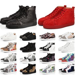 Red Bottoms Men Women Shoes Shoes Spikes High Top Sneakers Black White Glitter Grey Leather Suede Mens Casual Shoe Online Sale
