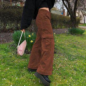 Sweetown Caramel Brown Corduroy Y2K Jogger Frauen-breite Bein-Hosen mit hohen Taille Ästhetische gerade Hose weiblich 90s Jogginghose