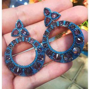 missvikki Brand Statement Flashing glowing Carved Round Earrings For Women Bridal Wedding 2020 New Design Best gift Jewelry 2tJL#