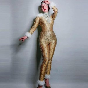 Long Sleeves Rhinestones Gold Stretch Jumpsuit Women Jazz Dance Feather Bodysuit Outfit Evening Show One-piece Party Wear DJ