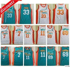 Мужская Flint Tropics Movie Edition # 33 Джеки Луна Вышитая 11 Эд Монис 7 Кофе Черный 69 Центр Главная Баскетбол NCAA Джерси