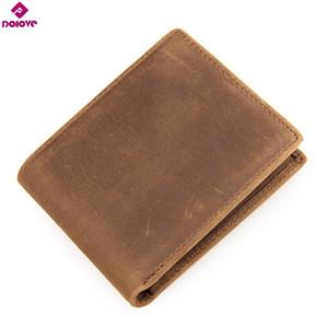 Dolove vintage para carteiras de cavalo carteiras multi-funcionais homens handmade bolsa de couro louco cowhide gfilm genuína