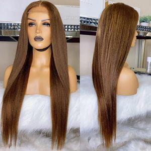 Кружевные парики темно-коричневые шелковистые прямые 13x6 фронт человеческие волосы с ребенком, сброшенные 360 фронтальный ремил шелковый лучший