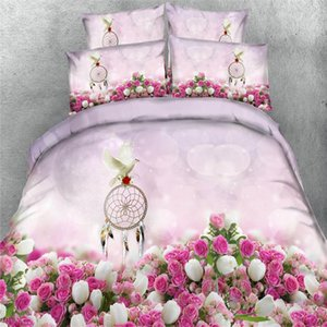 Free shipping 100%cotton 3d flower rose 4pcs bedding set no filler twin full queen king super king size pigeon home textile