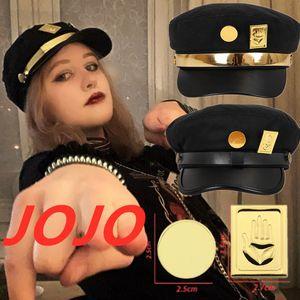 JoJo's Bizarre Adventure Jotaro Kujo Cosplay Costume Black Sun Hats Flat cap JoJo Anime Costumes Badges Accessories Props