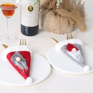 Yeni Noel İskandinav yaşlı adam şapka bıçak ve çatal kapak meçhul bebek sofra seti bıçak ve çatal çanta T3I51344 dekorasyonlar