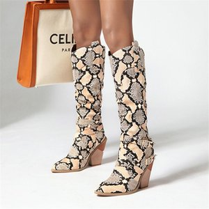 New Snake Print Knee High Boots Western Cowboy Boots for Women Long Winter Pointed Toe Cowgirl wedges Motorcycle