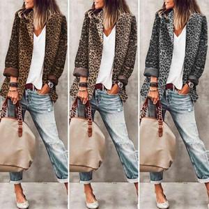 Stylish Women's Lapel Jackets ZANZEA Leopard Printed Coats Casual Long Sleeve Outwears Female Button Overcoats Plus Size Tunic