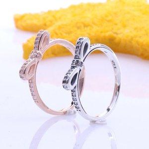 Anelli a cluster 2021 Autentico 925 sterling argento spumante arco rosa europeo anello originale per le donne fai da te gioielli1