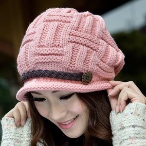 Coarse Hat Beanie Cap Women's Winter Knit Ear Cap Warmer Thick Soft Ski Lady Bonnet Skullies Beanies Chunky Knitted Rib Hats