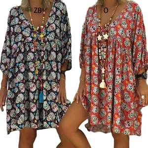 Femmes Plus Taille V-Col V 3/4 Manches Lâche T-shirt Flowy Robe Halloween Skull Floral Casual Fête Flared Party Tunic Sundress S-5XL1