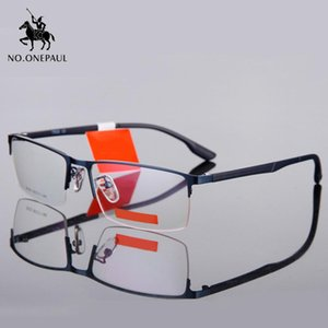 NO.ONEPAUL Eyeglasses Male Half Optical Frame Glasses Frame Men Titanium Glasses Ultralight Square Eye Myopia Prescription