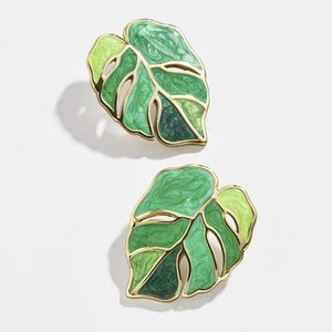 10 pair Hot sell New Fashion Leaf Earrings Enamel Green Plant Earrings For Women Party Jewelry Gifts G-70
