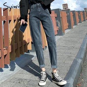 syiwidii 청바지 여성 빈티지 캐주얼 높은 허리 청바지 여성 패션 플러스 사이즈 데님 바지 2020 직선 거리 스타일의 옷