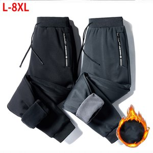 Fleece Jogger Mens Pants Straight Trousers Male Winter Warm Velvet Sweatpants 8XL Tracksuit Thick Joggers Outside Autumn 201004
