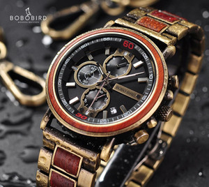 Relogio Masculino BOBO BIRD Wood Watch Top Brand Luxury Chronograph Military Men Watches in Wooden Box reloj hombre Dropshipping LJ201120