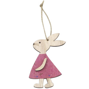 Easter Wooden Pendants Decorations Pendant DIY Carved Wooden Rabbit Hanging Pendants Ornaments Creative Wooden Craft Party Favors ZZC4048