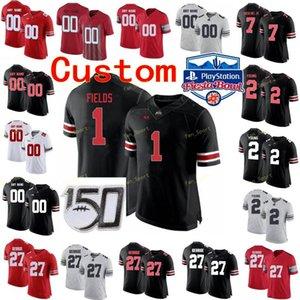 Пользовательские штаты Огайо Buckeyes College Football Jersey 4 Fuller 45 Archie Griffin 5 Garrett Wilson 7 Dwayne Haskins Jr. Женская красная белая сшитая