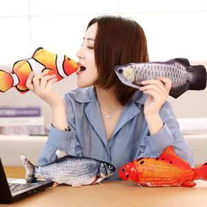 Sıcak 2021 Flipping Balık Kedi Oyuncak Gerçekçi Peluş Elektrikli Saygısız Bebek Komik İnteraktif Evcil Hayvanlar Chew Bite Floppy Oyuncak Kitty Egzersiz için Mükemmel