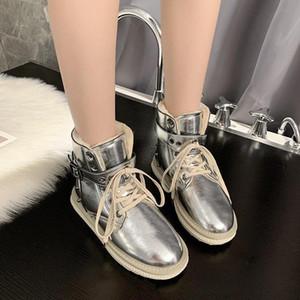 Kürk Kar Botları Kadın Perçin Ayak Bileği Çizmeler Lace Up Metal Toka Düz Platformu Kış Sıcak Ayakkabı 2020 Kısa Patik