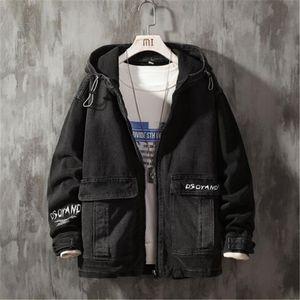 2020 nouveau automne hommes Vintage fermeture éclair jean veste Streetwear mode décontracté en vrac à capuche Denim manteau mâle marque vête