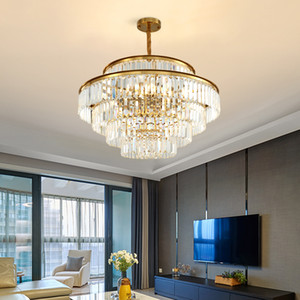 New contemporary crystal chandelier lights for villa living room bedroom dining room  hanging lamps creative gold pendant lighting