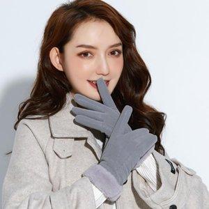 Femmes gants mignons jouent téléphone portable chaud Guante en cuir souple Gants d'hiver Stretchy Ticking Dingerle 2021 # P2