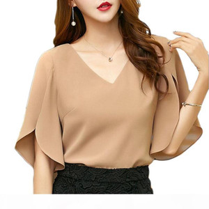 Womens Tops And Blouses Plus size Chiffon Shirt Short Sleeve 2019 Summer New Korean Fashion Sexy V-neck Temperament Shirt E201