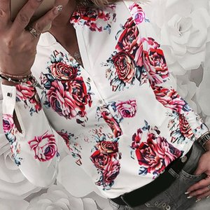 New Fashion Women's Shirts Floral Printed Blouse Long Sleeve Shirts Spring Printing Button Women's Tops Blouse