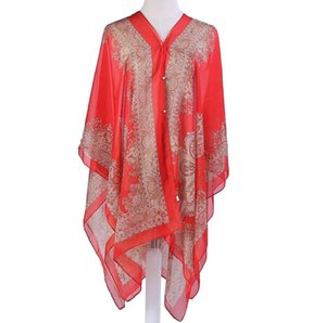 Sunscreen Shawl Driving Beach Wraps Chiffon Thin Coat Scarves Print Bikini Cover Ups Women Poncho Fashion Wrap Sexy Pashmina Cape NWC2635