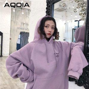 Aqoia Hoodies Frauen dicker plus Samttasche warme weiche mit Kapuze Brief gedruckt Einfache Lose Damen Trendy Sweatshirt Winter 201106