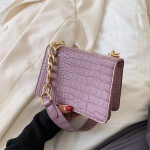 Crocodile Pattern PU Leather Crossbody Bags For Women 2021 Chain Female Shoulder Handbags Mini Purses Travel Cross Body Bag Q1104