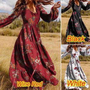 Bayan Ruffled Casual Elbiseler Uzun Kollu Yaz Bahar Ve Güz Bayan Çiçek Desen Baskı Bayanlar V Yaka Puf Kol Baskılı Elbise