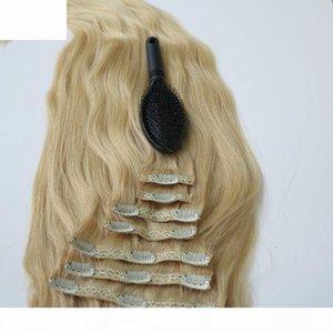 280G 20 22-дюймовый клип в человеческих наращиваниях волос бразильские волосы 613 # Bleach Blonde Remy прямые волосы Weaves 8 шт. Установите бесплатный гребень