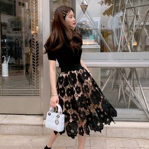 Fashion Elegant O-neck Knitted Tops and Lace Skirt 2 piece set Floral Crochet Hollow Ball Gown Knee-length Skirt Sets 3 colors 201007