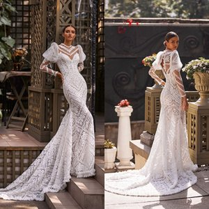 2021 Modest Mermaid Wedding Dresses Lace Appliqued Long Sleeves Jewel Neck Beach Wedding Gowns Sweep Train Robe De Mariage