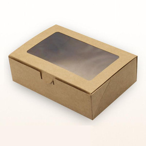 20pcs lot 18*12*5cm 6 Cupcake brown Packaging kraft Paper Muffin window Box For moon cake Candy Cake Dessert party Packing boxes