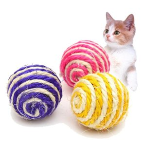 random color cat play toy straw cat pet rope weave ball forecast ball pet product toys High quality#YL