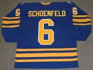 Barato retro personalizado # 6 Jim Schoenfeld Buffalo Sabres Hockey Todos los hombres del jersey cosido cualquier tamaño 2XS-3XL 4XL 5XL nombre o número de envío