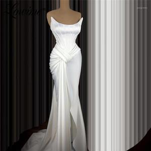 Простые дешевые белые вечерние платья русалка длинные платья женщина женщина вечеринка ночь атлас официально платья 2020 Pliats Prom платья плюс размер1