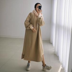 Genayooa Maxi Dresses For Women Long Sleeves Casual Hoodies Woman Dress Solid Autumn Winter Dress Women Loose Harajuku Vestidos