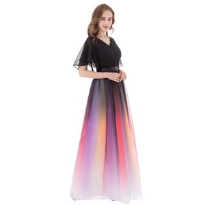 Wrap Sleeves Ombre Chiffon Mother of the Bride Dresses Elegant Long Evening Gowns