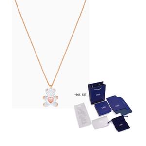 Fashion Bijoux Swa New Teddy Pendentif Teddy Bear Shape Rose Léviter Heart Rose Gold Chain Chaîne Femmes Luxe Bijoux Cadeau Q0127