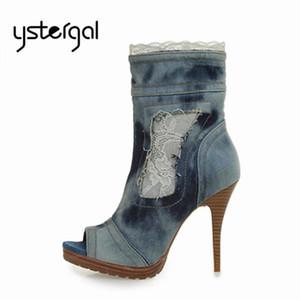 Ystergal Женщины Ботильоны Peep Toe Жан Botas Mujer Кружева Женщины платформы насосы высокой пятки обувь женщина Джинсовый Короткие полусапожки