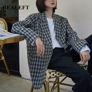 REALEFT 2020 neue Herbst-Winter-Grid Blazer moderne Retro- Art Einreiher beiläufige Damen-Mantel-Jacke Weiblich
