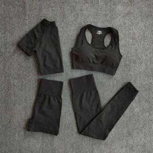 Wareball 4 stücke Yoga Set Damen Sportbekleidung Fitnessstudio Kleidung Fitness Langarm Crop Top High Taille Leggings Sportanzüge C0119