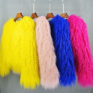 womens fur coat Colorful Furry Pink lamb wool faux fur coat female Shaggy plus size sheepskin winter artificial jacket